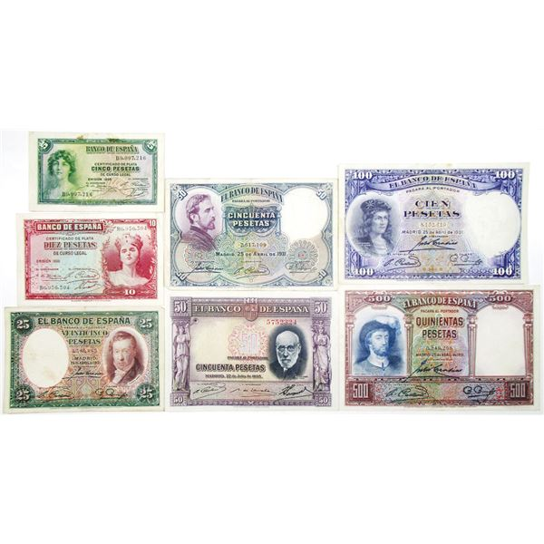 Banco de EspaÐa. 1931-1936. Lot of 7 Issued Notes.