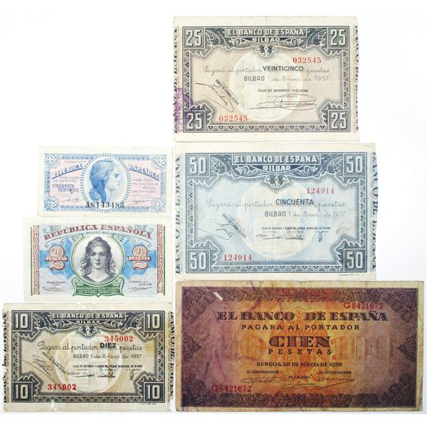 Banco de EspaÐa and Ministerio de Hacienda. 1937-1938. Lot of 6 Issued Notes.