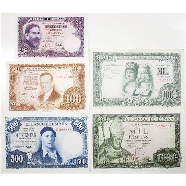 Banco de EspaÐa. 1954-1971. Lot of 5 Issued Notes.