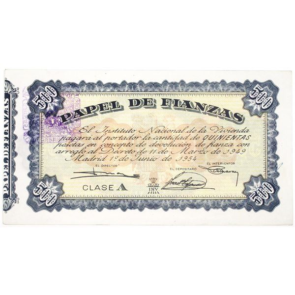 Instituto Nacional de la Vivienda. 1954. Issued Note.