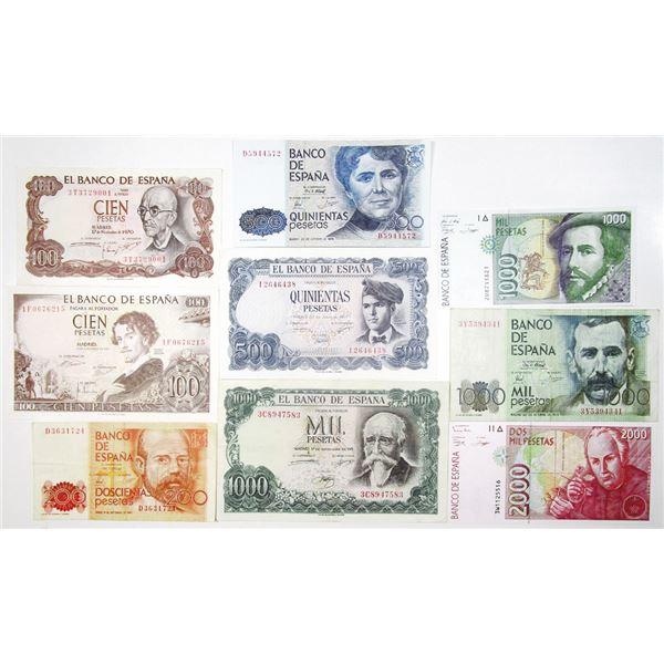 Banco de EspaÐa. 1965-1996. Lot of 9 Issued Notes.