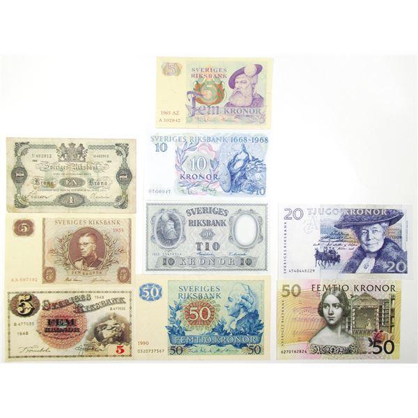 Sveriges Riksbank. 1918-1996. Lot of 9 Issued Notes.
