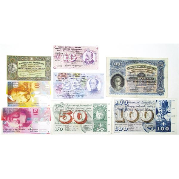 Banque Nationale Suisse. 1939-2003. Lot of 8 Issued Notes.