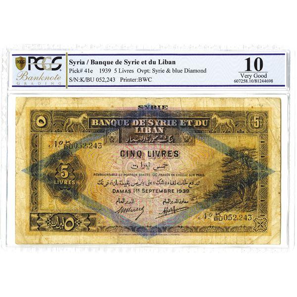 Banque De Syrie et du Liban, 1939 Issue Banknote.