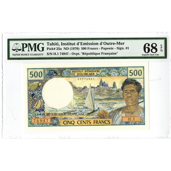 """Tahiti, Institut d'Emission d'Outre-Mer ND (1970) """"Top Pop"""" Issued Banknote, Finest Graded."""