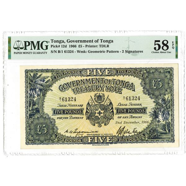 Government of Tonga. 1966 Issue Banknote.