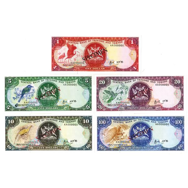 Central Bank of Trinidad and Tobago. ND (1985). Lot of 5 Specimen Notes.