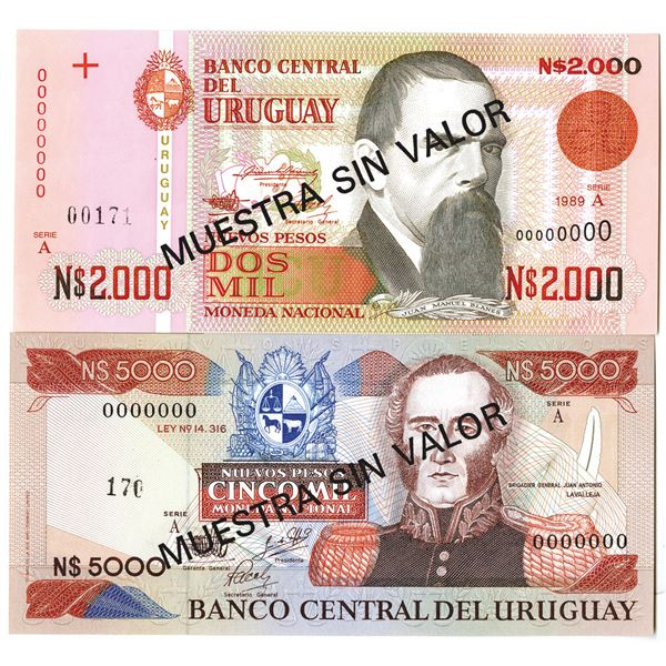 Banco Central del Uruguay. 1983-1989. Lot of 2 Specimen Notes.