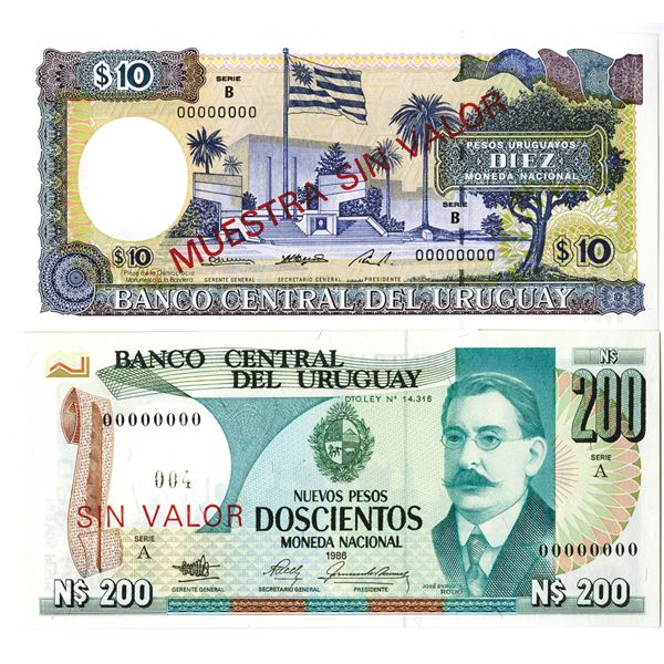 Banco Central del Uruguay. 1986-1995. Lot of 2 Specimen Notes.