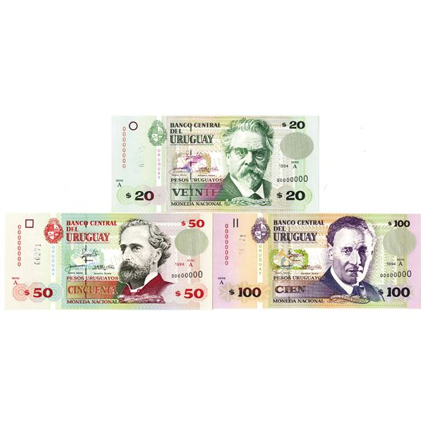 Banco Central del Uruguay. 1994. Lot of 3 Specimen Notes.