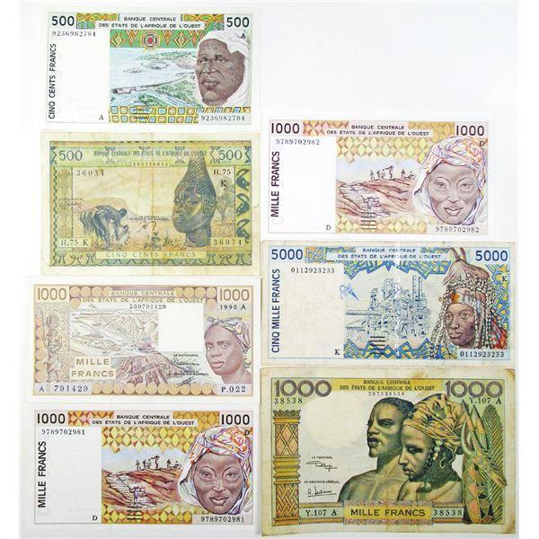 Banque Centrale des Etats de l'Afrique de l'Ouest. ca. 1959-2001. Lot of 7 Issued Notes.