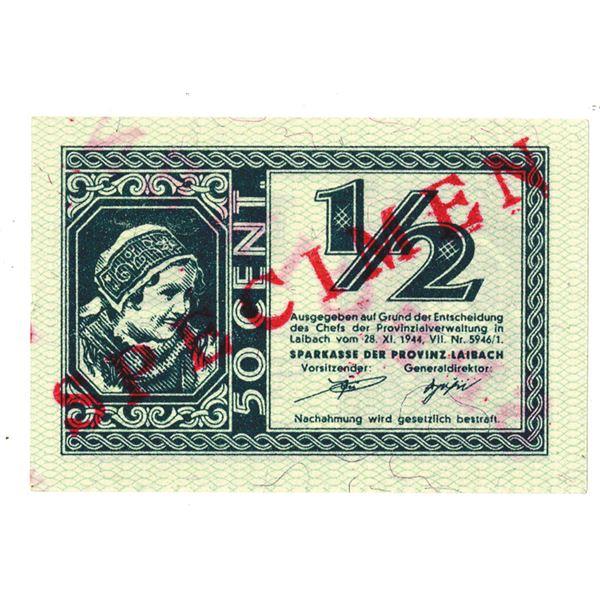 Sparkasse der Provinz Laibach. 1944. 50 Cents Specimen Note.