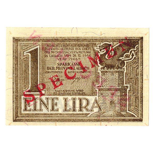 Sparkasse der Provinz Laibach. 1944. 1 Lira Specimen Note.