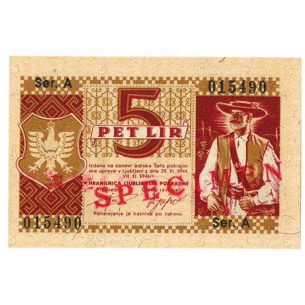 Sparkasse der Provinz Laibach. 1944. 5 Lira Specimen Note.