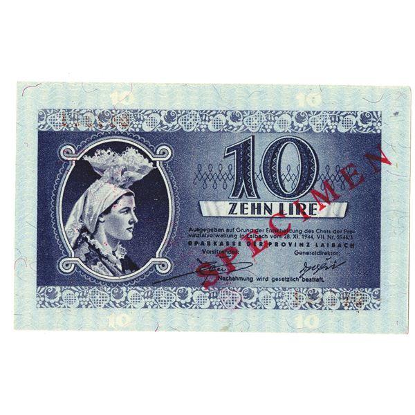 Sparkasse der Provinz Laibach. 1944. 10 Lira Specimen Note.