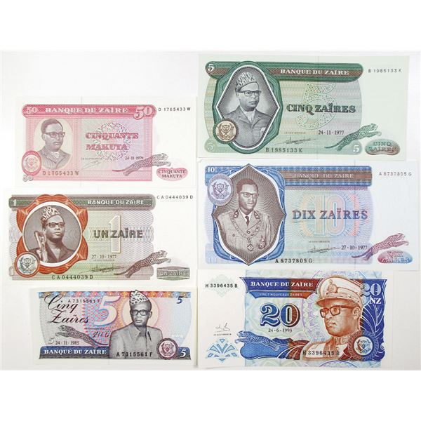 Banque du Za¥re. 1977-1996. Lot of 13 Issued Notes.