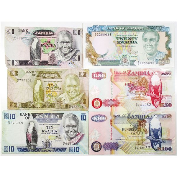 Bank of Zambia. 1980-1992. Lot of 6 Issued Notes.