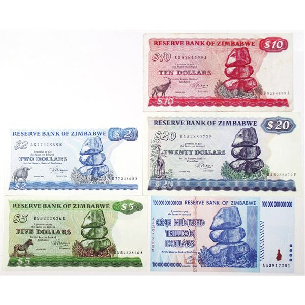 Reserve Bank of Zimbabwe. 1983-2008. Lot of 5 Issued Notes.