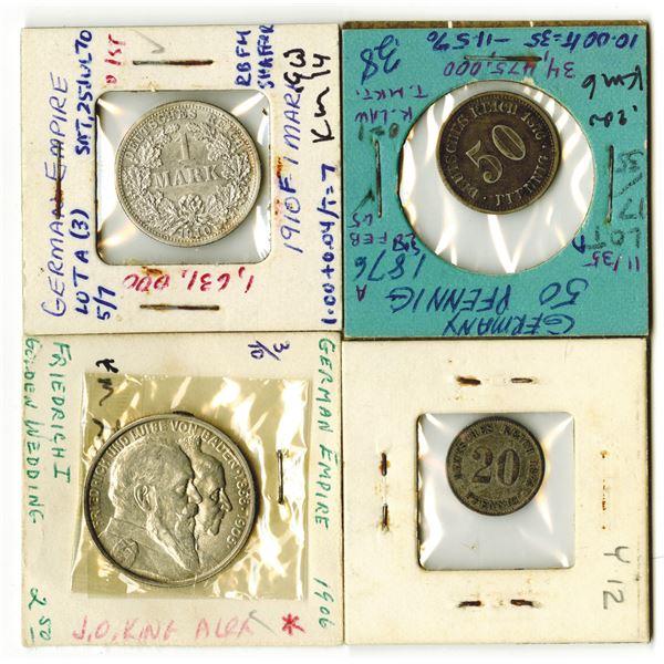 German Empire Coin Quartet, 1874-1910