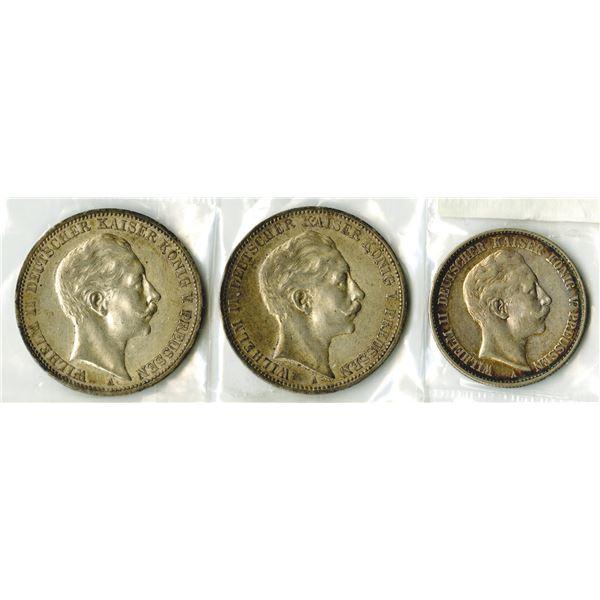 Prussia Coin Trio, 1901-1912