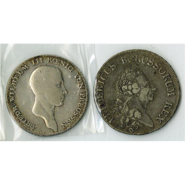 Prussian Silver Thaler Coin Pair, 1786 & 1814.