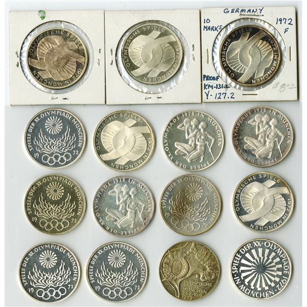 Munich, 1972 Olympics, German Silver Coins Assorted Group of 33 Pieces (10 Ounces Silver)