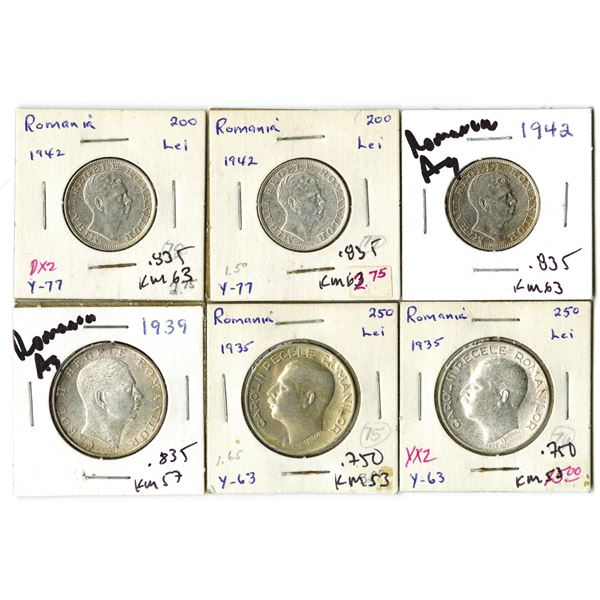 Romania Coins, Group of 6, 1935-1942