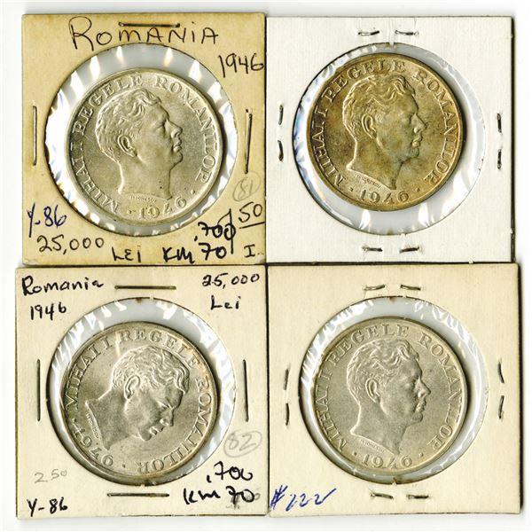 Romania Quartet of Silver Coins, 1946