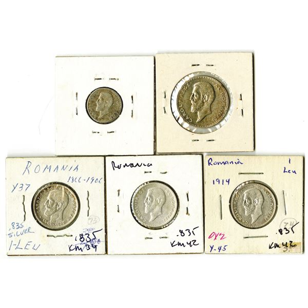 Romania Quintet of Silver Coins, 1906-1914