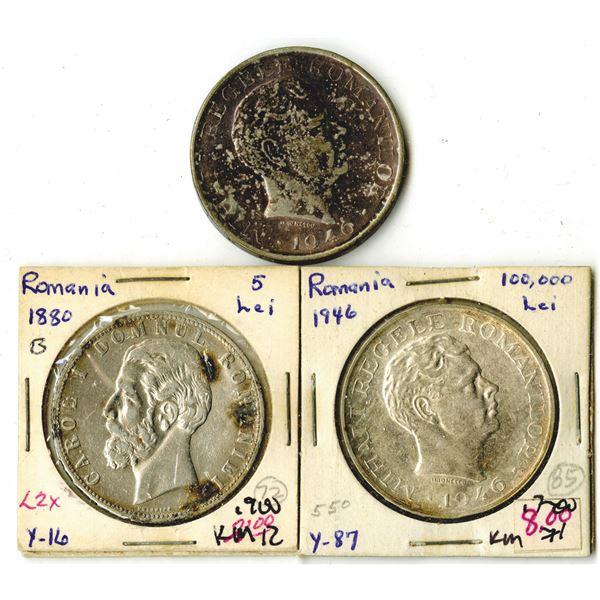 Romania Trio of Silver Coins, ca. 1880-1946