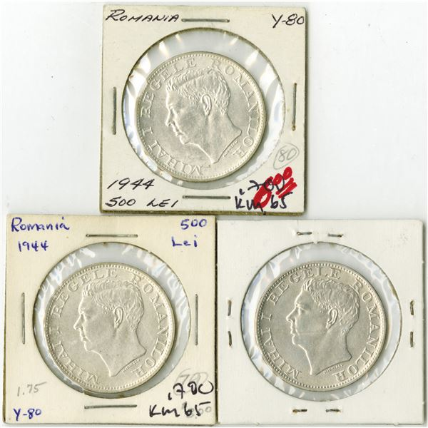 Romania, 1944, 500 Lei, Trio of Silver Coins