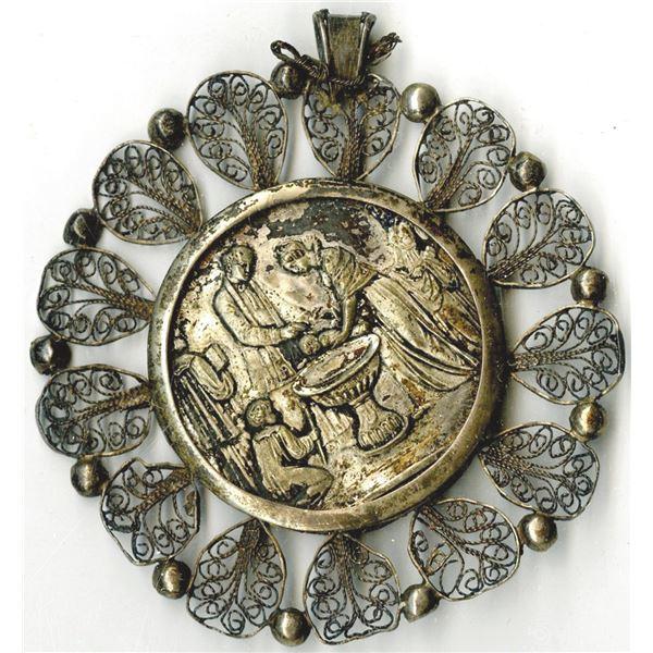 European Filigree Baptism Medallion, ca.1800's