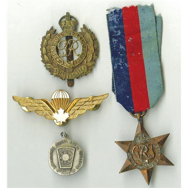 World War II Era Medal & Badge Quartet, 1939-1950's