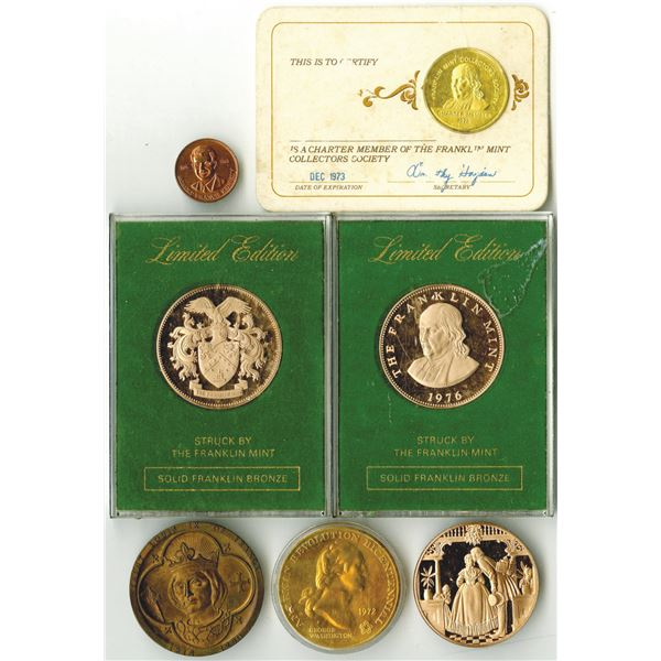Group of 7 Commemorative Coins by Franklin Mint