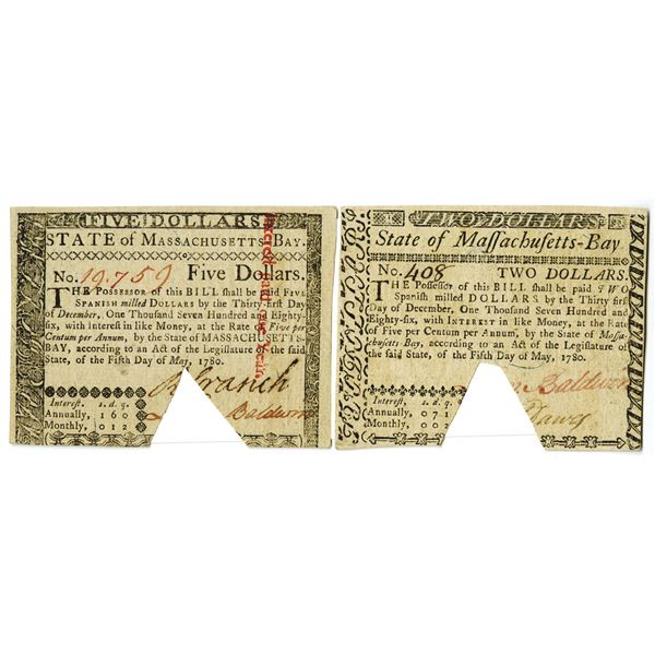 State of Massachusetts-Bay, May 5th, 1780 Colonial Currency Pair.