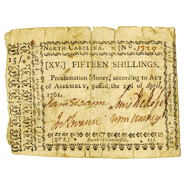 North Carolina Colonial Currency, 23rd April, 1761 Proclamation Money