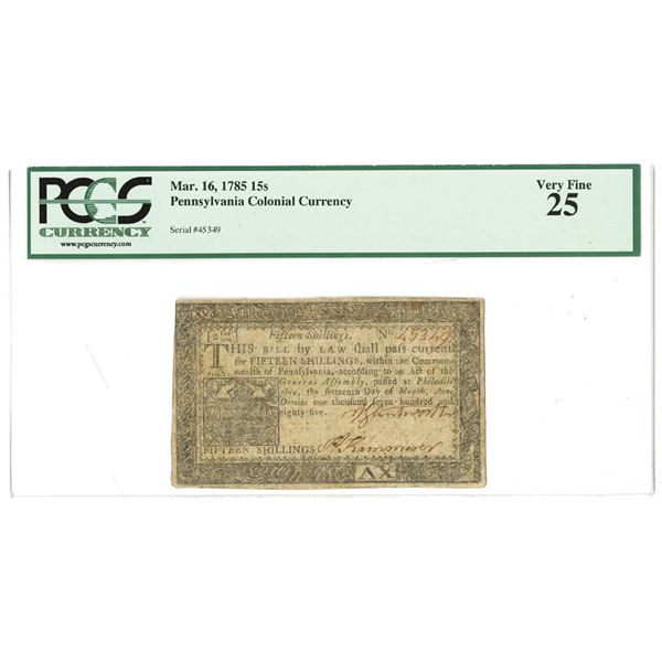 Pennsylvania Colonial Currency, March 16, 1785, Fr. PA-271, Colonial Currency.