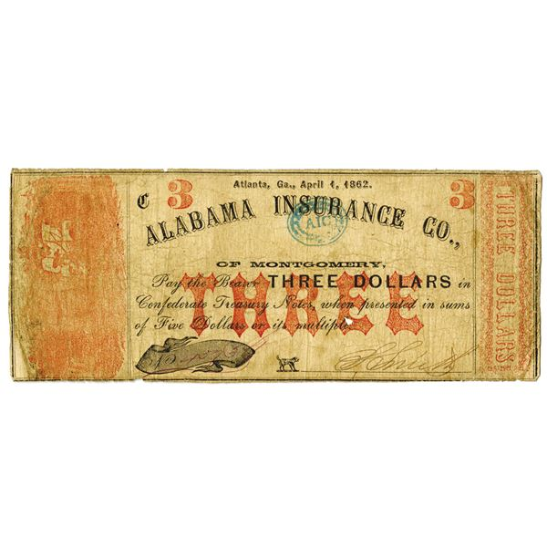 Alabama Insurance Co. of Montgomery, 1862 $3 Banknote