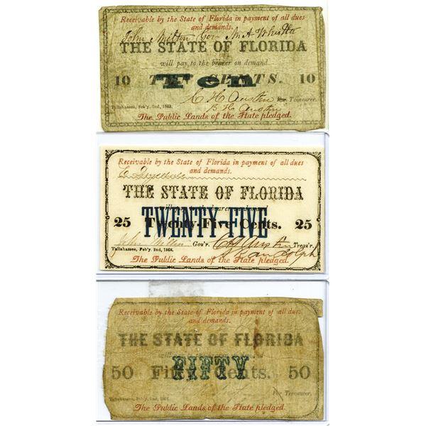 State of Florida, 1863 Obsolete Scrip Note Trio