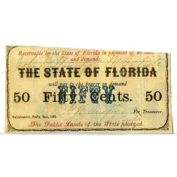 State of Florida, 1863, Obsolete Scrip Note