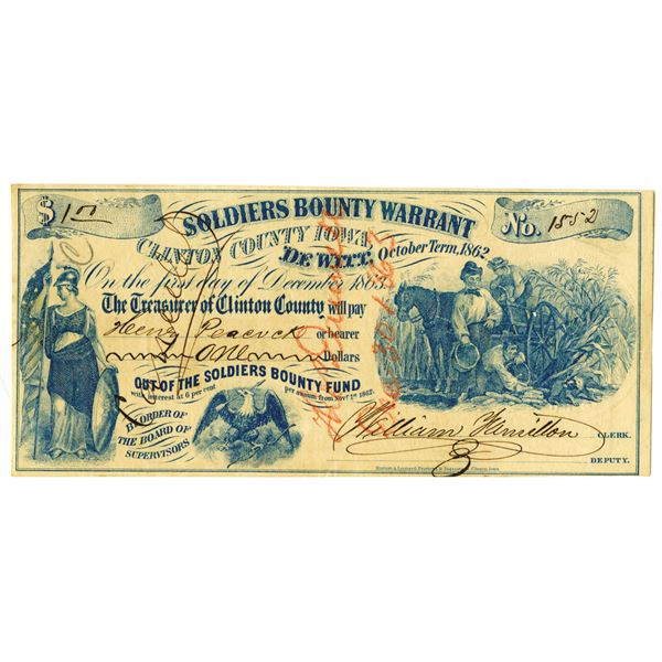 Clinton County Iowa, Soldiers Bounty Warrant, 1862 Issued Scrip Note.