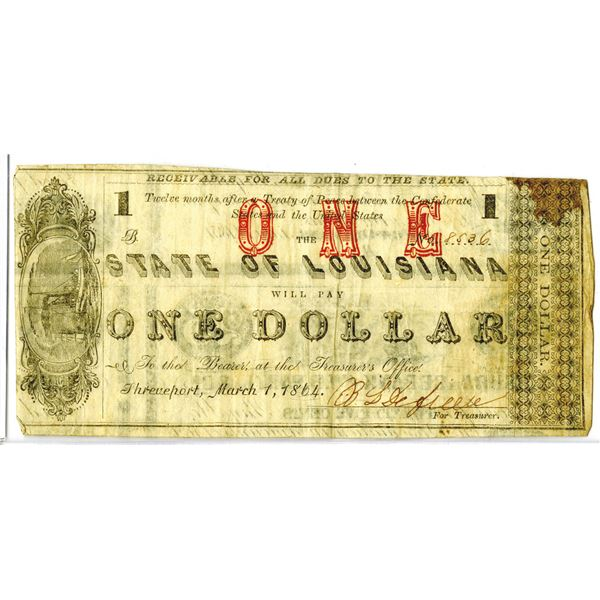 Louisiana. State of Louisiana, 1864, Obsolete Banknote
