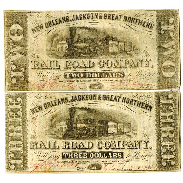 New Orleans, Jackson & Great Northern Rail Road Co. 1861 Banknote Pair Printed on backs of the Bank