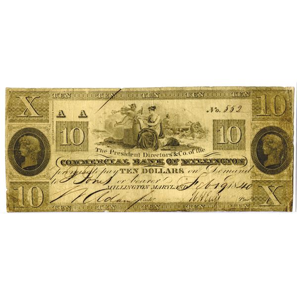 Maryland. Commercial Bank of Millington, 1840, Obsolete Banknote