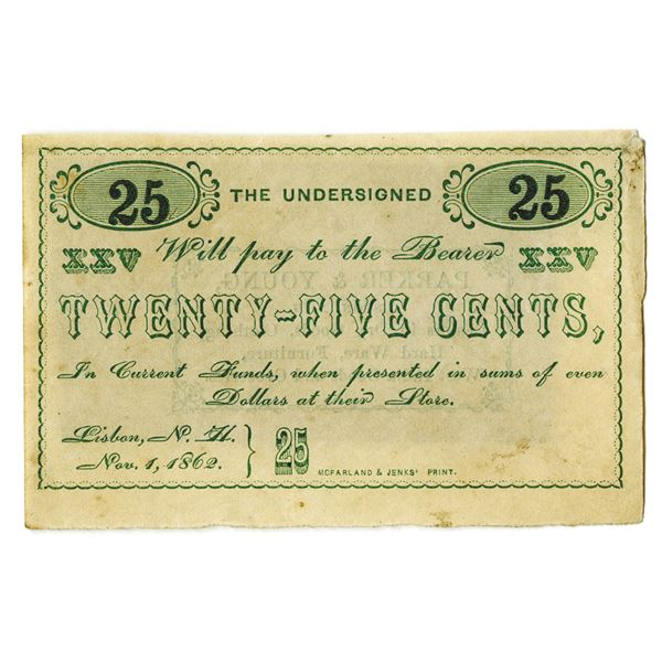 Parker & Young of Lisbon, N.H., New Hampshire Merchants, 1862 Scrip Note