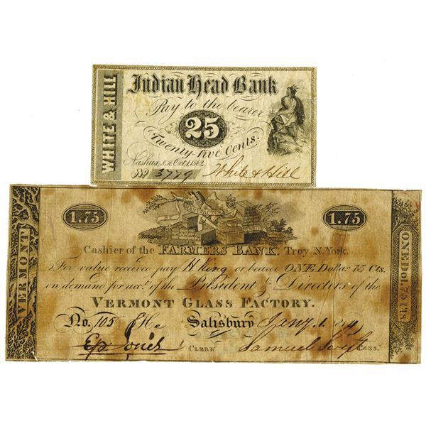 New Hampshire & Vermont, ca. 1814-1862 Obsolete Banknote Pair