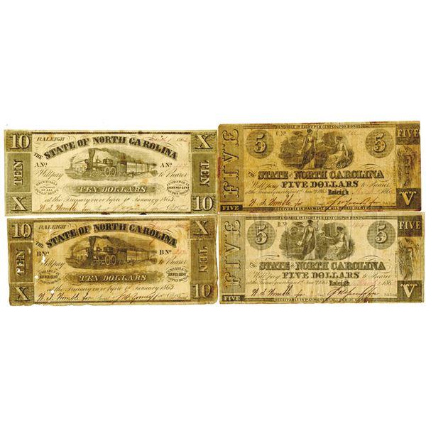 State of North Carolina, 1862-1865 Obsolete Banknote Quartet