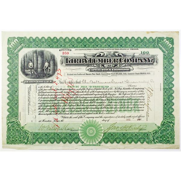 Kirby Lumber Co. ca.1915 Specimen Cardboard Circular Scrip Note for $1, and 1902 I/C Stock Certifica