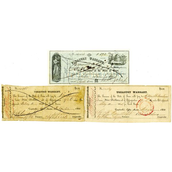 Treasurer of the State of Texas, 1862 Obsolete Banknote Trio