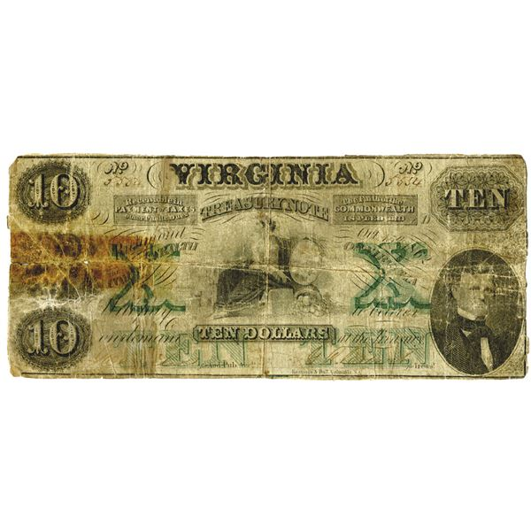 Virginia Treasury Note, 1862, $10, Pasted to back of 1861 $10 Bank of Philippi Note
